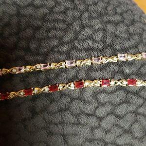 "Jewelry - 2 Yellow Gold 7"" Tennis Bracelet CZ Set Red & Pink"